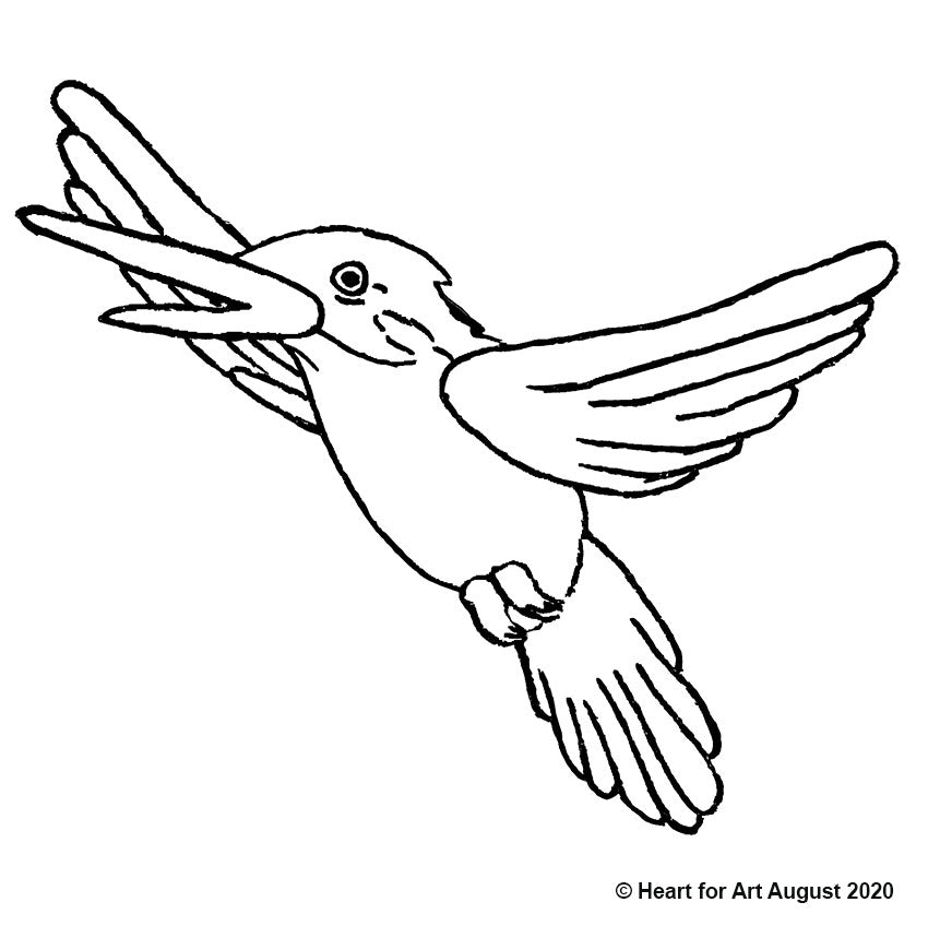 Free painting tracer - Kingfisher line drawing