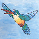 Free painting tutorial - Blue green Kingfisher on blue sky background