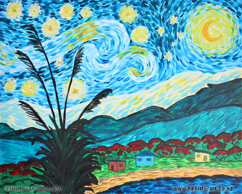 stylised painting of Van Gogh's Starry Night with New Zealand elements