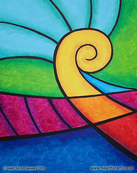 Paint night ideas for beginners KORU HEARTLAND © Heart for Art NZ