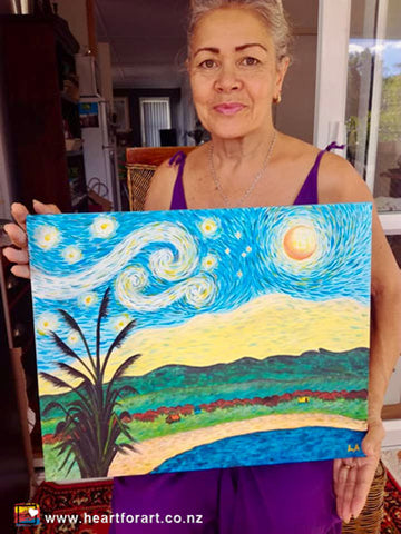 Online painting class participant with her Kiwi Starry Night painting