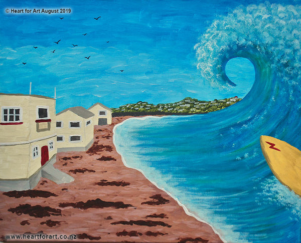 Paint night ideas for beginners SURFING LYALL BAY © Heart for Art NZ