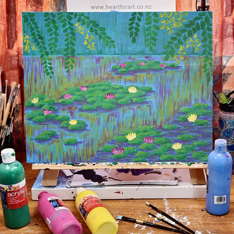 Water Lilies Painting on Easel