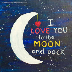 Online painting of moon and red heart on starry night sky Love you to the moon and back