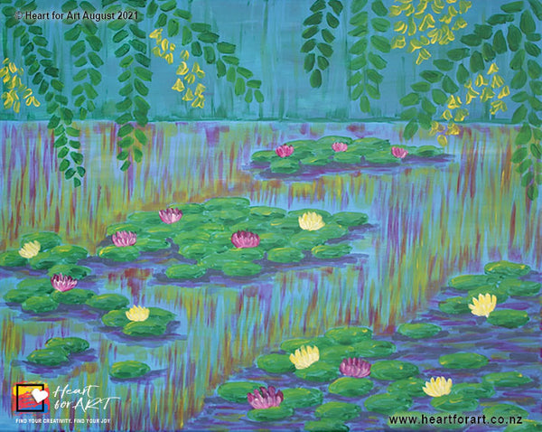 Paint Water Lilies Virtual Paint Party