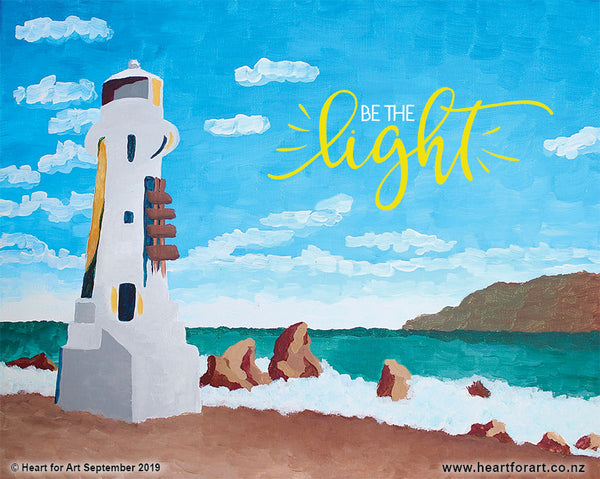 Paint your own PENCARROW LIGHTHOUSE BE THE LIGHT © Heart for Art NZ easy fun art class