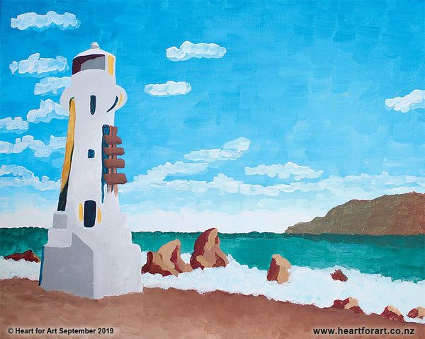Paint your own PENCARROW LIGHTHOUSE © Heart for Art NZ easy fun art class