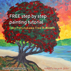 painted Pohutukawa Tree with bright red blossoms and bright sunset background
