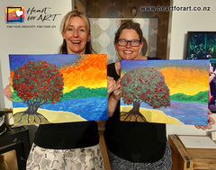 Virtual Paint Party painters with their Aoteroa summer paintings