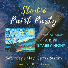 Colourful Kiwi starry night painting on painted background with event details