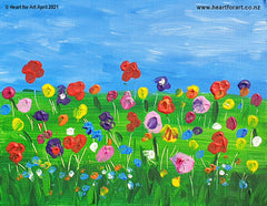 colourful acrylic painting of flowers in grass with blue sky