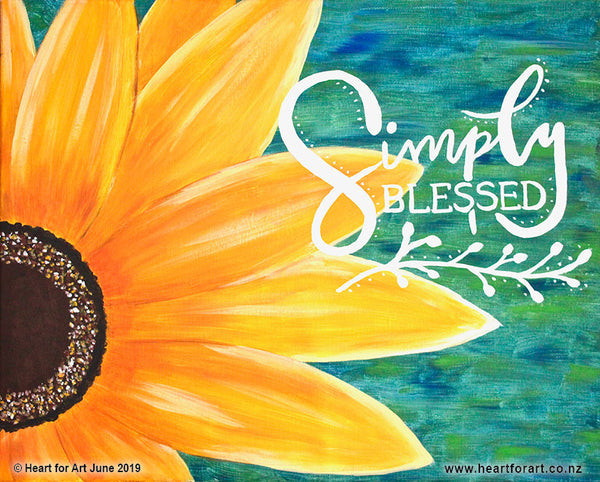 Paint your own SUNFLOWER SIMPLY BLESSED © Heart for Art NZ easy fun art class