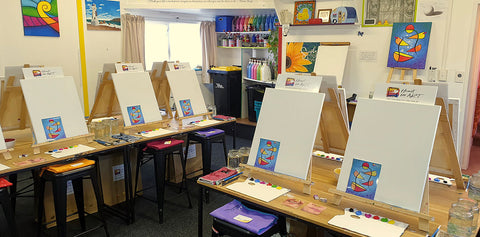 Heart for Art studio set up for Wellington Bucket Fountain painting class