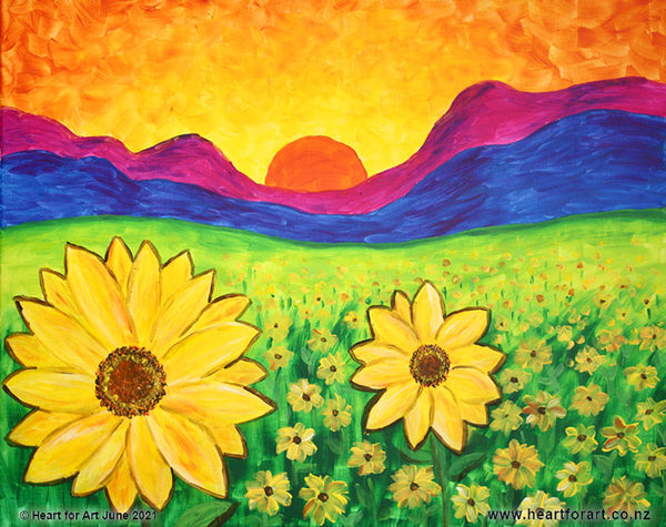 Create a sunflower painting step by step with Heart for Art