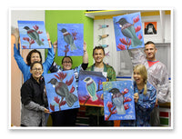 happy people holding up their newly created tui paintings at their Heart for Art classes wellington
