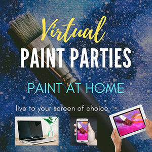 Virtual Paint Parties Paint at home Paint brush on blue background with small laptop cell phone and ipad and the words