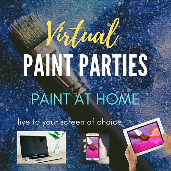 Paint brush on blue background with small laptop cell phone and ipad and the words Virtual Paint Parties Paint at home