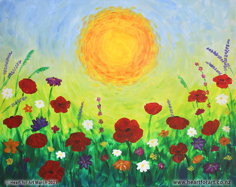 field of bright painted flowers with orange sun and blue sky