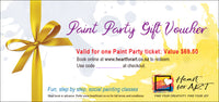 Heart for Art paint party gift voucher with yellow gold ribbon for art classes wellington