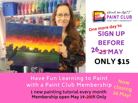 Silke holding Wellington by Night painting for Paint Club