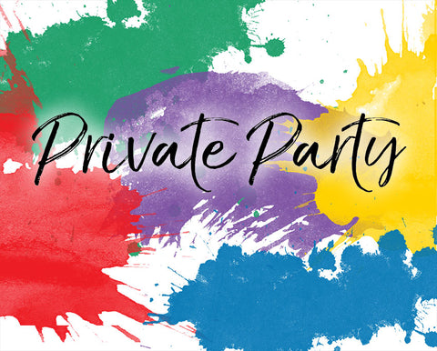 splashes of red blue purple green and yellow paint with private party heading