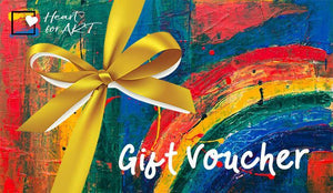 Gift voucher with gold ribbon and colourful painted canvas art