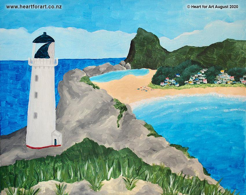acrylic painting of Castlepoint with lighthouse in front, lagoon and castle rock behind. Blue sky and aqua sea.