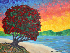 sunset painting of pohutukawa tree in bloom on beach with bright sunset behind