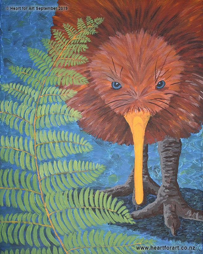 painting of a brown kiwi behind a silver fern that can be painted at Heart for Art easy art lessons