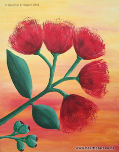 Acrylic painting of pohutukawa fvie blossoms with a yellow orange sunset background