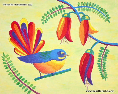 brightl colourful fantail painting with kowhai blossoms