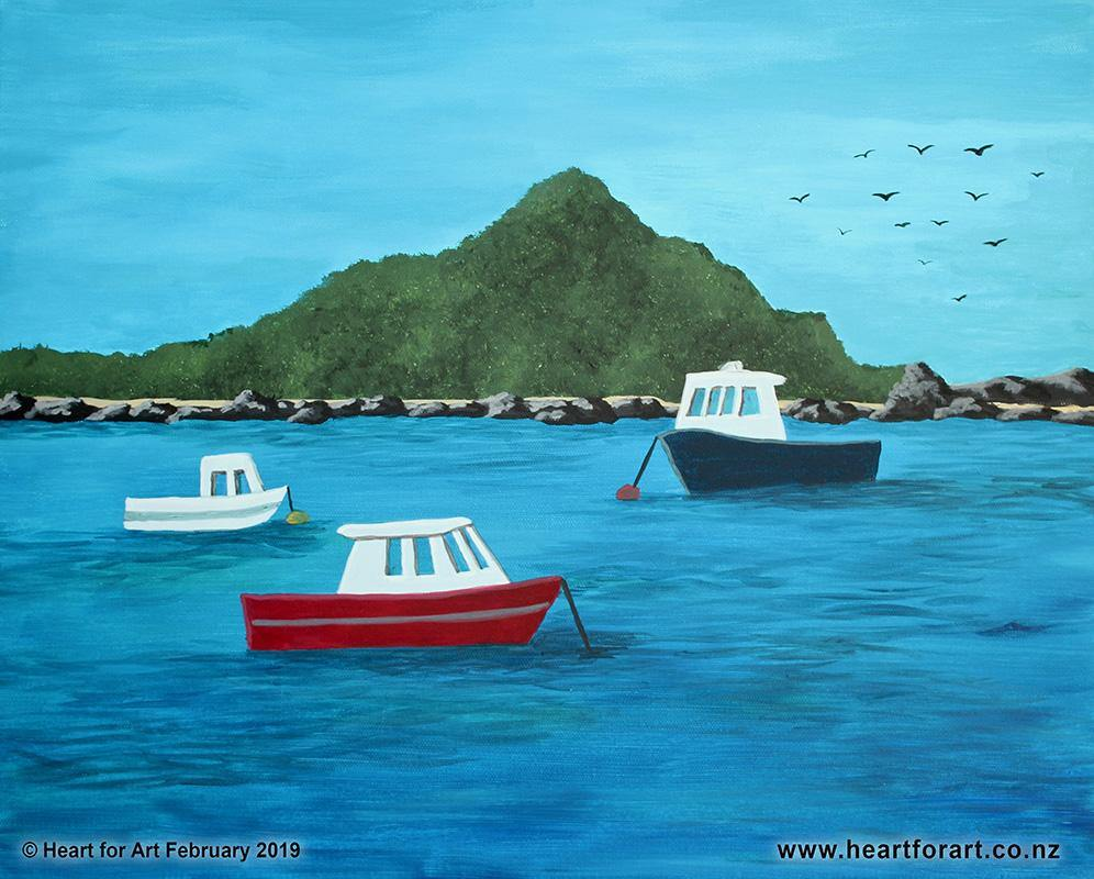 Create your own ISLAND BAY painting - Social painting at Heart for Art studio