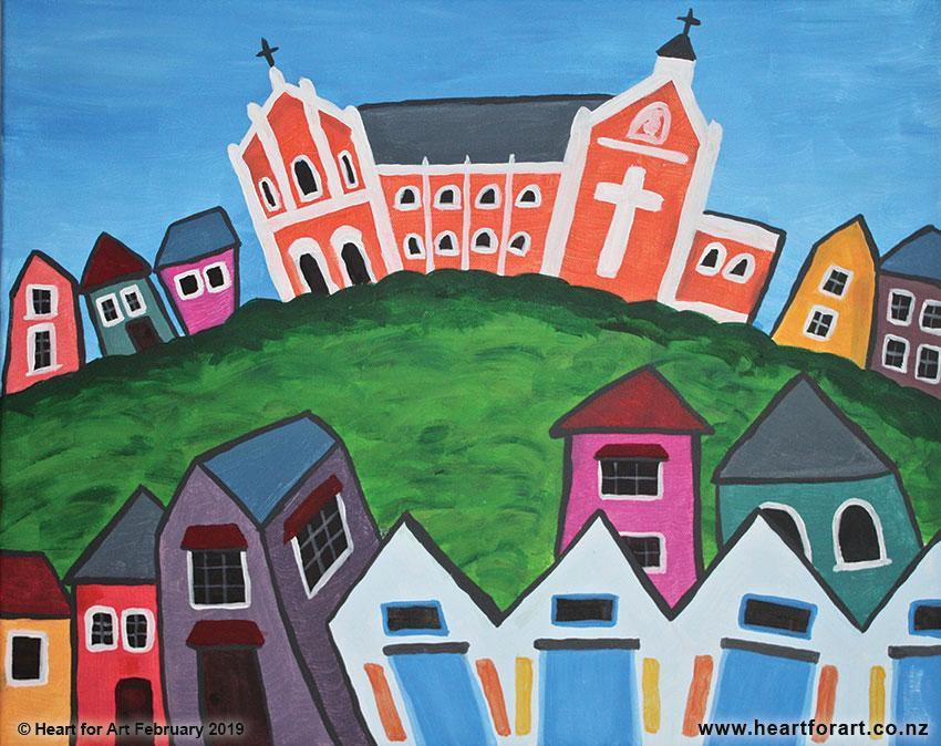 colourful abstract acrylic painting of Oriental Bay Wellington showing Monastery houses and boat sheds all different bright colours