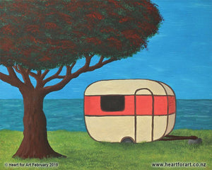 easy to paint kiwi summer scene with caravan under pohutukawa tree by the sea