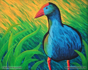 painting of blue perky pukeko with yellow green grass background for art lessons wellington