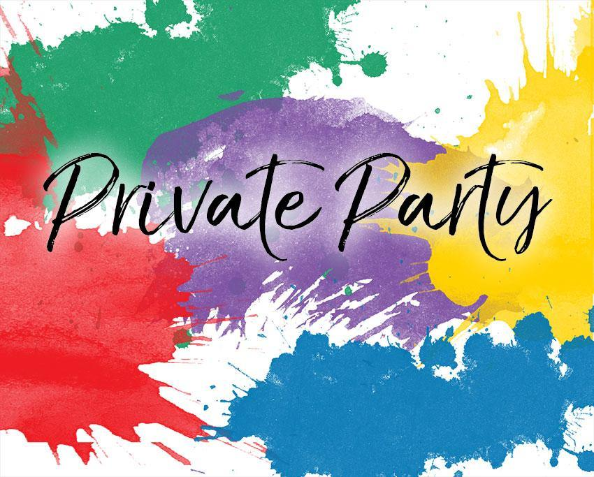 red green purple yellow blue coloured paint splashes as background with the words private party