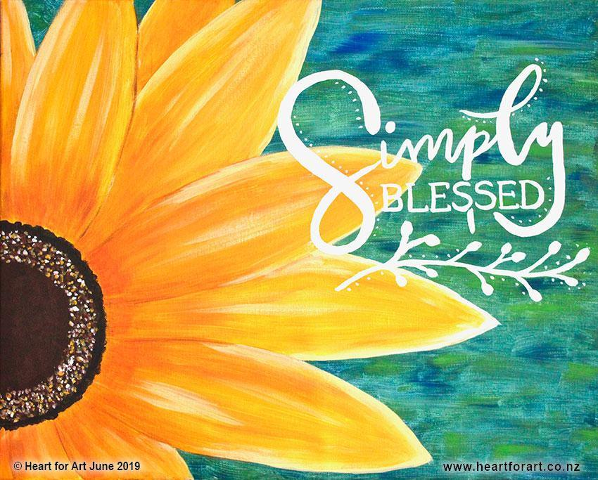 painting of yellow sunflower with words simply blessed in white lettering