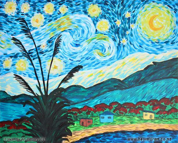 A Starry Night Kiwi version acrylic painting