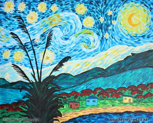 Starry Night painting with New Zealand additions of toi toi baches pohutukawa and southern cross