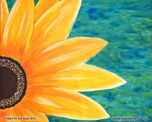 Load image into Gallery viewer, painting of large yellow sunflower with blue green painted background for our birthday party