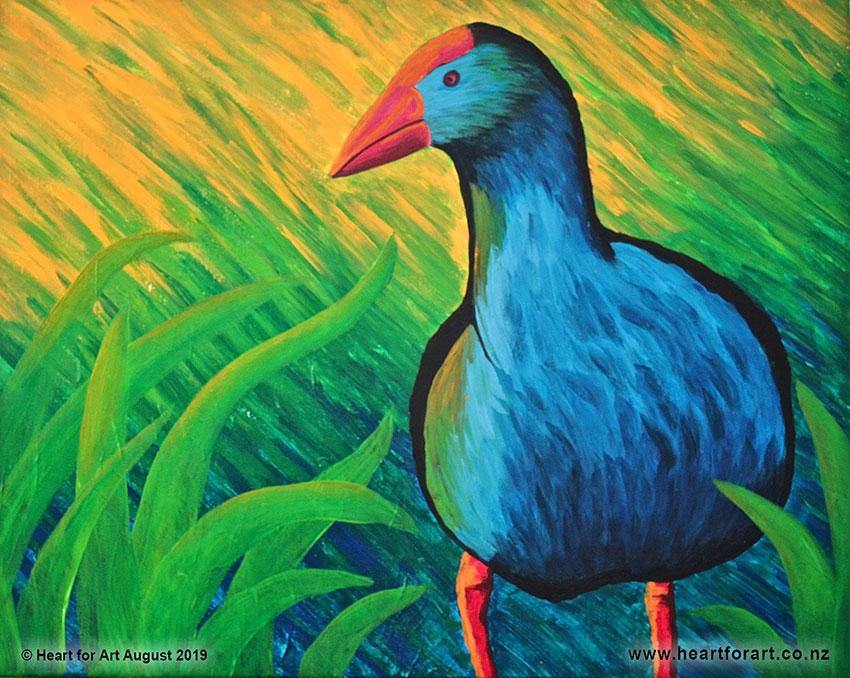 acrylic painting of blue pukeko in grass with abstract background