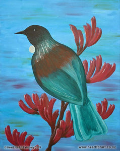 Acrylic painting of New Zealand Tui bird sitting on flax stem with blossoms in front of blue sky