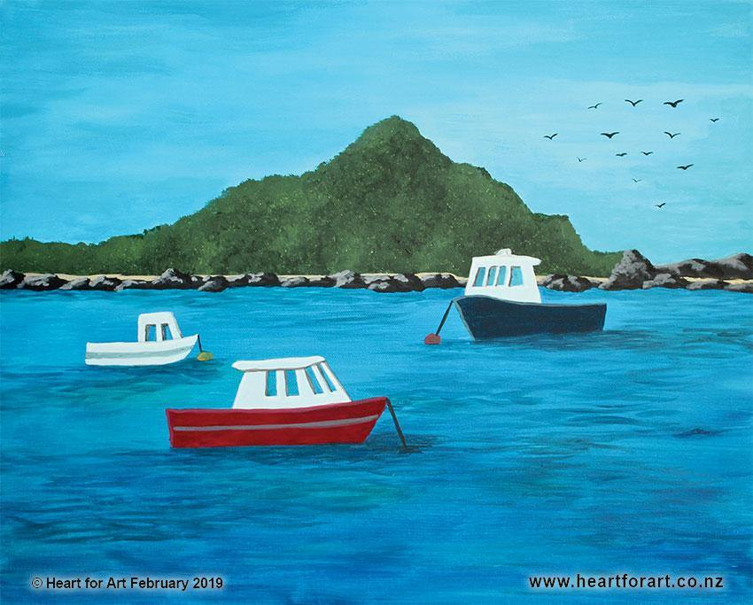 acrylic painting of Island bay based on Rita Angus painting, blue red and white boats on sea in front of island, seagull birds in blue sky