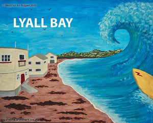 painting of Lyall Bay showing beach Maranui cafe surf club and sea with big surf wave