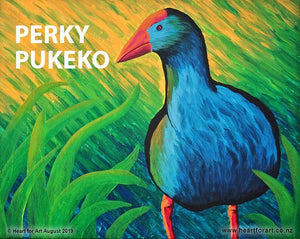 expressionist painting of perky blue pukeko with green yellow grassy background to paint with friends