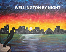 Load image into Gallery viewer, painting of wellington by night viewed from harbour with silhouette skyline and solace of the wind
