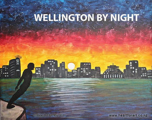painting of wellington by night viewed from harbour with silhouette skyline and solace of the wind