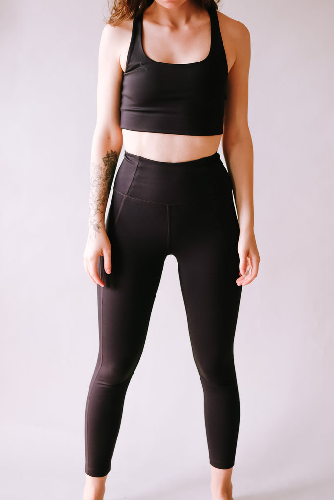 HIGH RISE RECYCLED COMPRESSION CROPPED 7/8 LEGGINGS BLACK