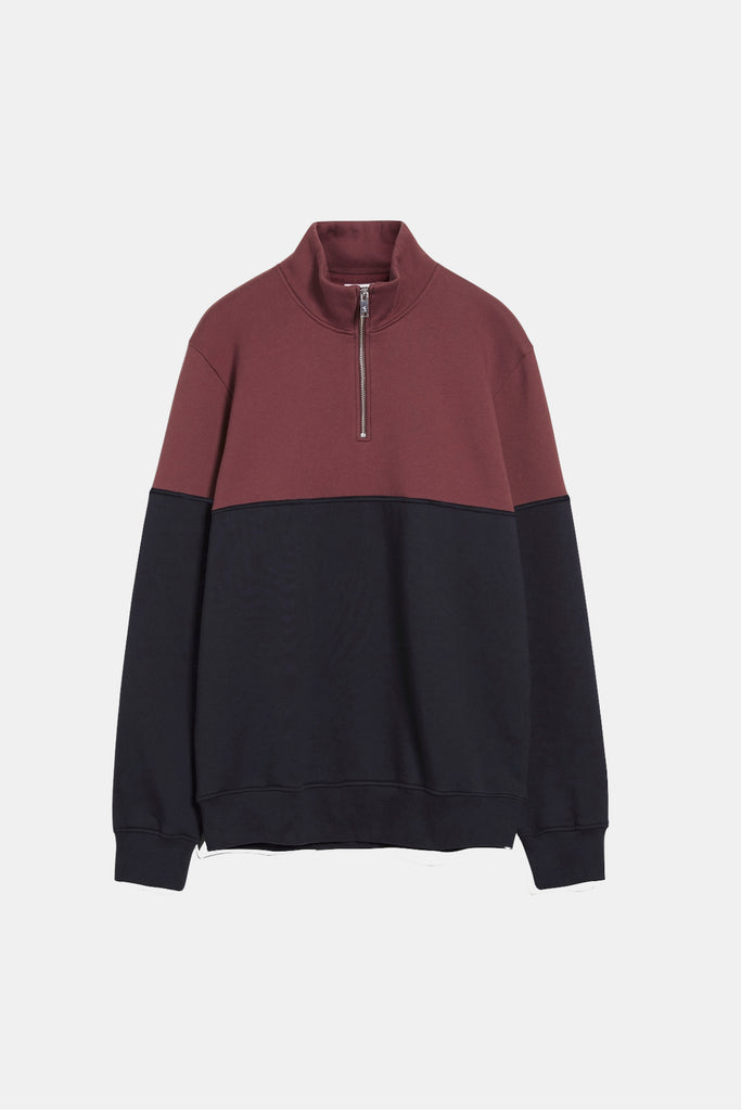 TWO TONE HALF ZIP ORGANIC SWEAT