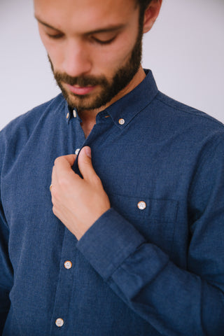 MELANGE ORGANIC FLANNEL SHIRT DEEP BLUE
